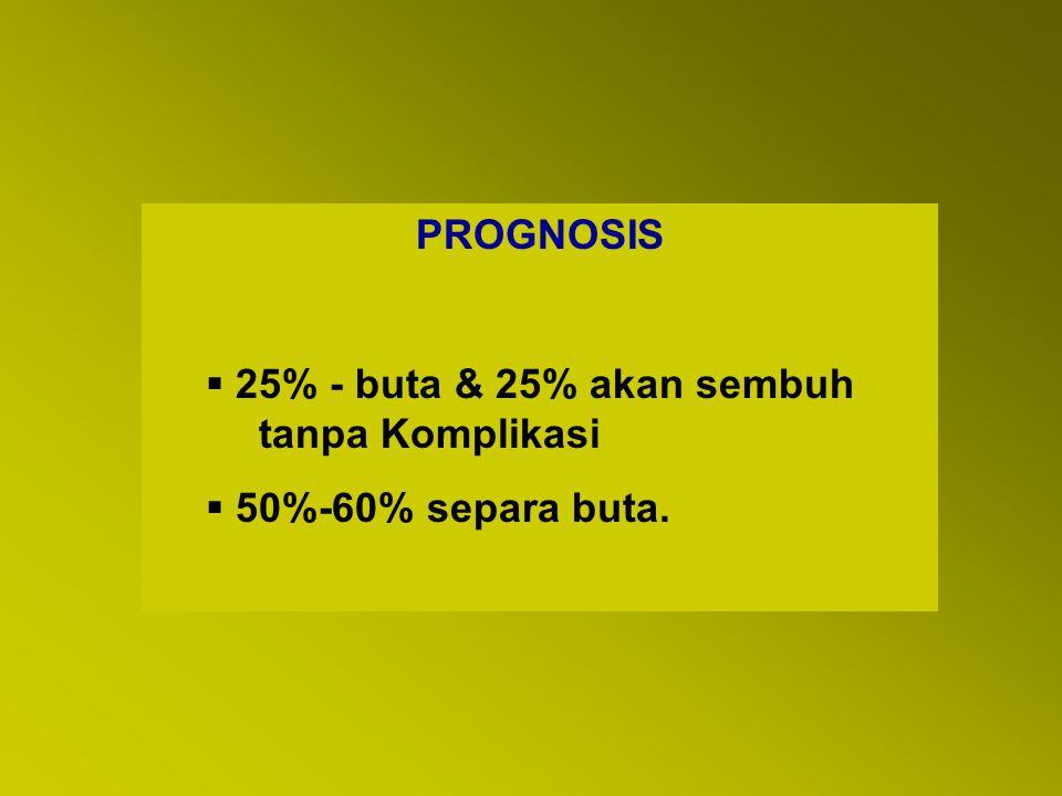 PROGNOSIS 25% - buta & 25% akan sembuh tanpa Komplikasi 50%-60% separa buta.