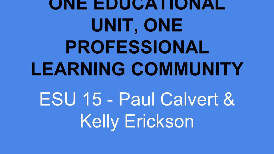 ONE EDUCATIONAL UNIT, ONE PROFESSIONAL LEARNING COMMUNITY