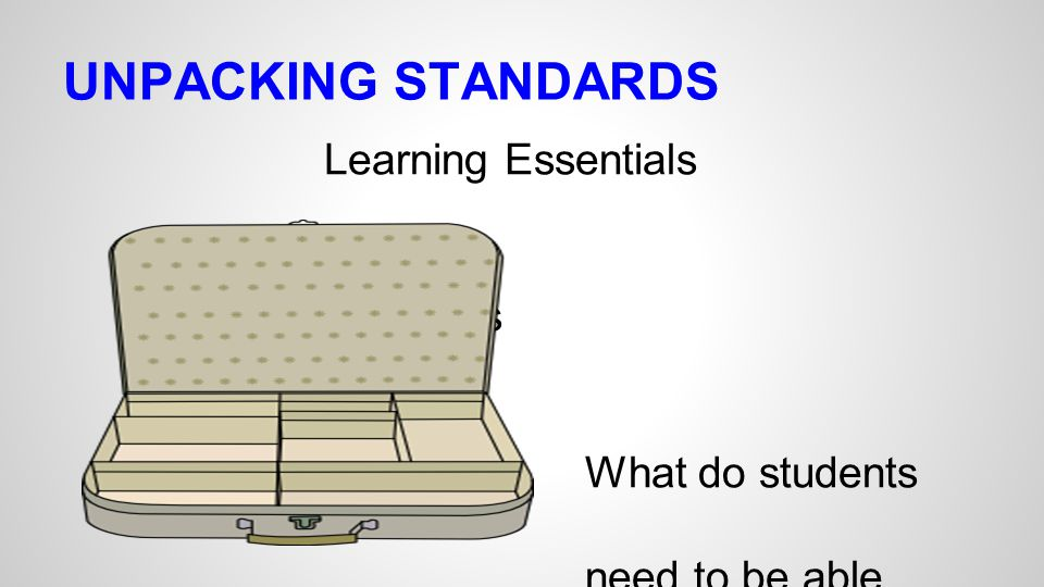 UNPACKING STANDARDS Learning Essentials Effective Lessons