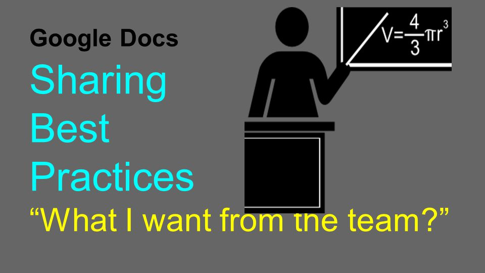 Google Docs Sharing Best Practices What I want from the team