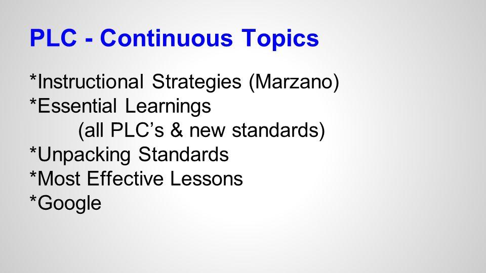 PLC - Continuous Topics