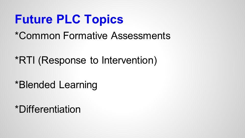 Future PLC Topics *Common Formative Assessments