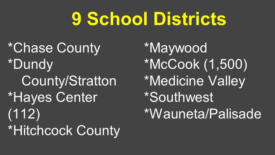 9 School Districts *Chase County *Dundy County/Stratton