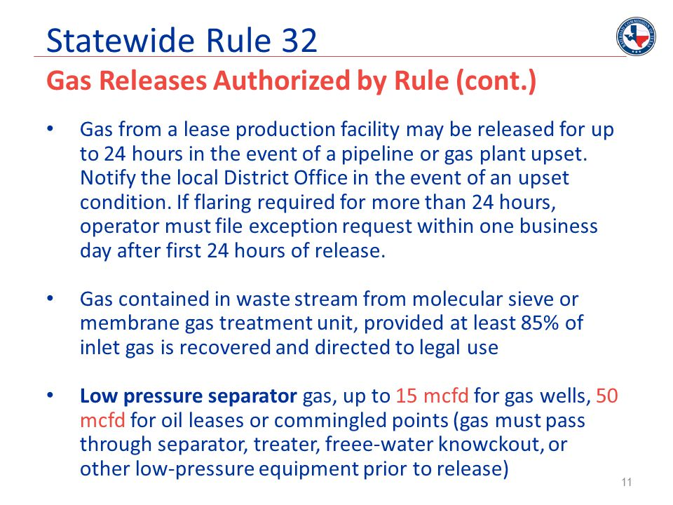 Statewide Rule 32 Gas Releases Authorized by Rule (cont.)
