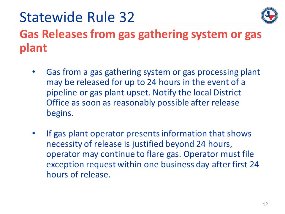 Statewide Rule 32 Gas Releases from gas gathering system or gas plant