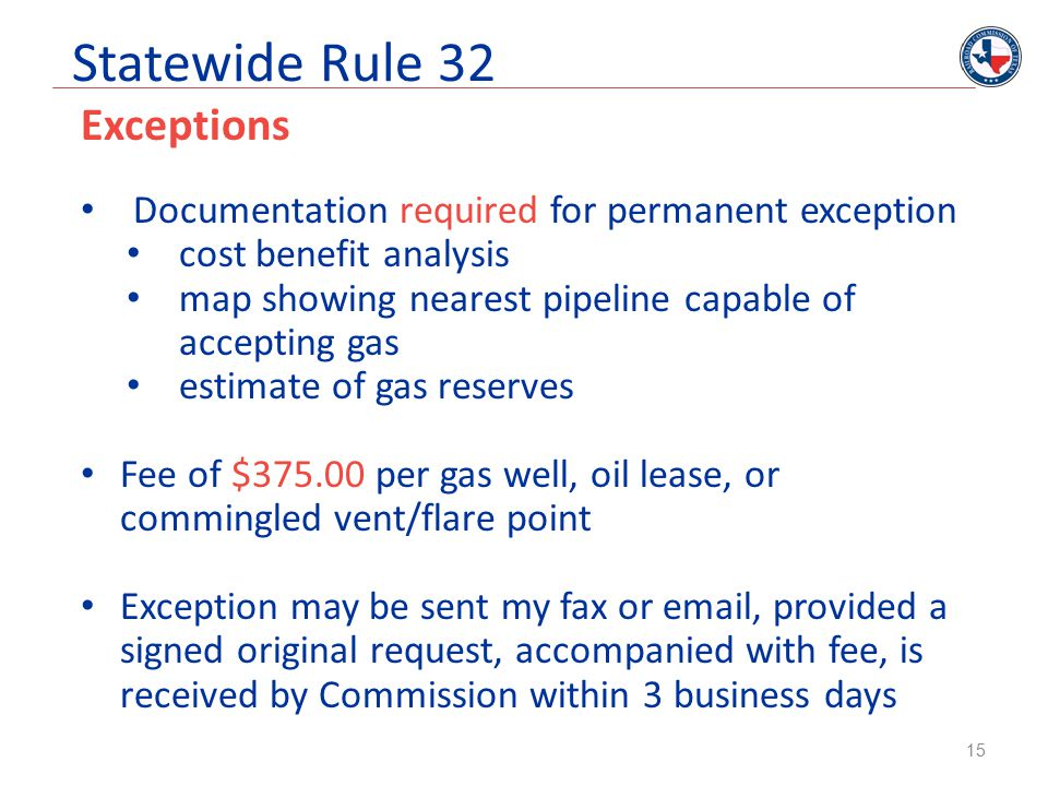 Statewide Rule 32 Exceptions