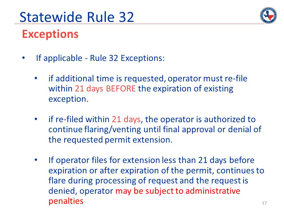 Statewide Rule 32 Exceptions If applicable - Rule 32 Exceptions: