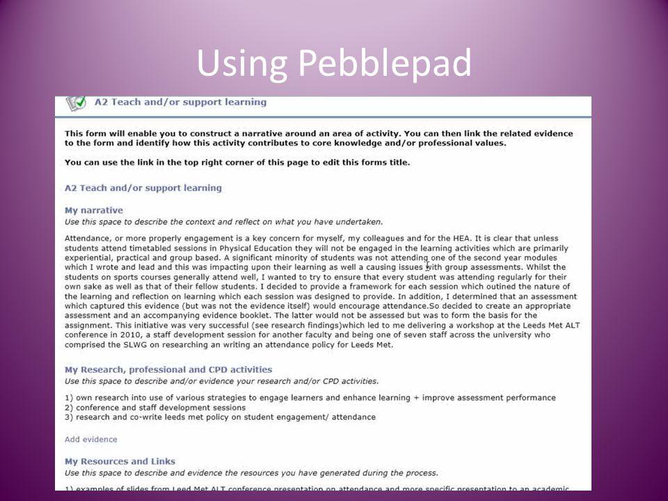 Using Pebblepad