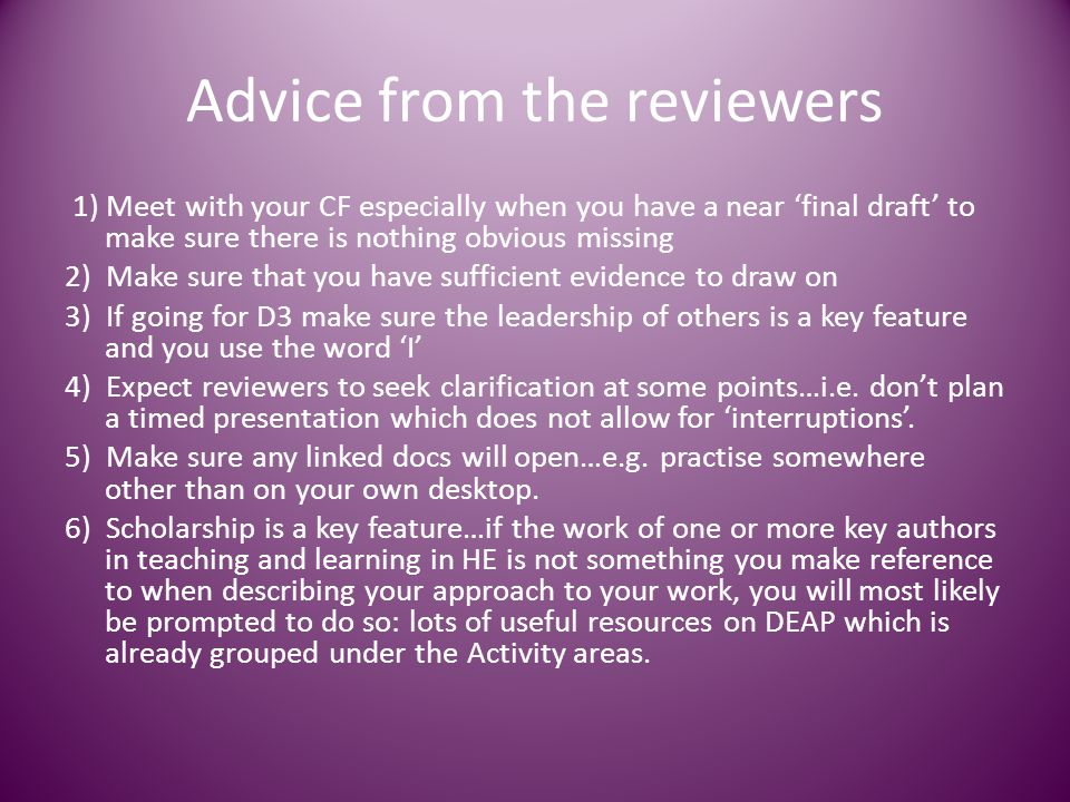 Advice from the reviewers