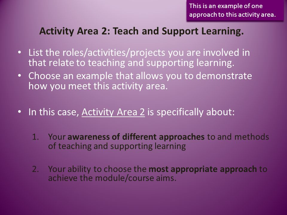 Activity Area 2: Teach and Support Learning.