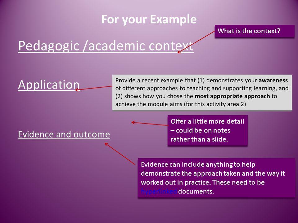 Pedagogic /academic context