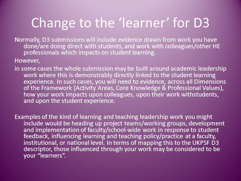 Change to the 'learner' for D3