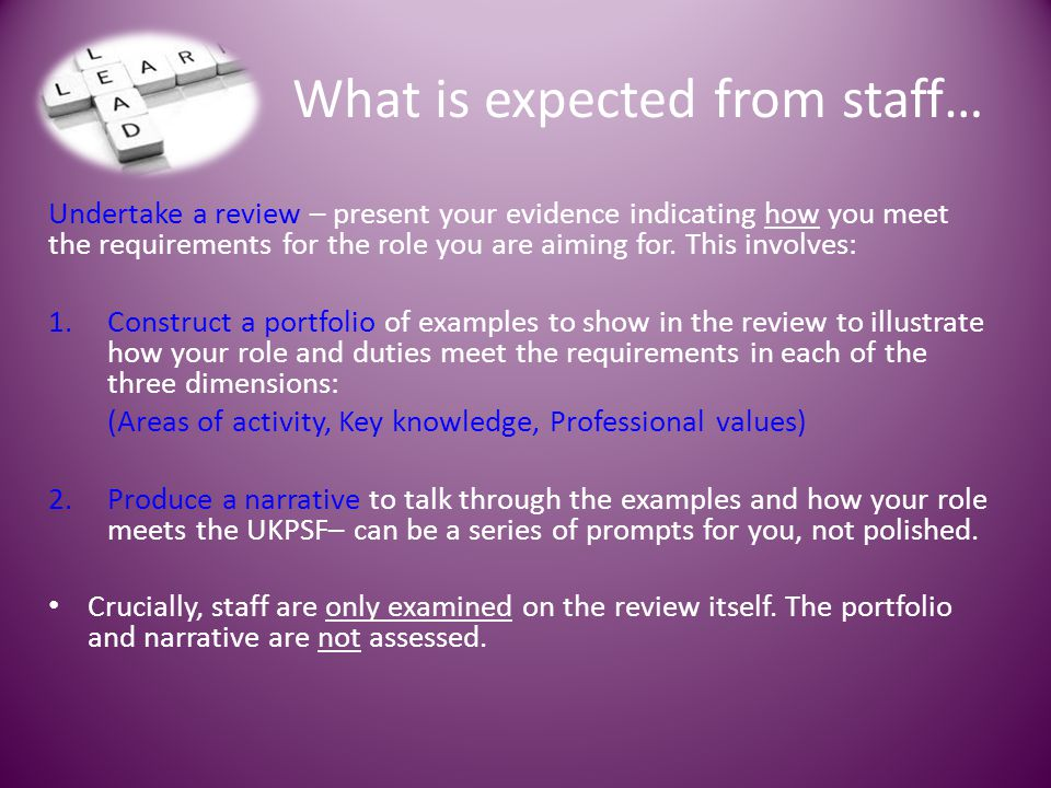 What is expected from staff…