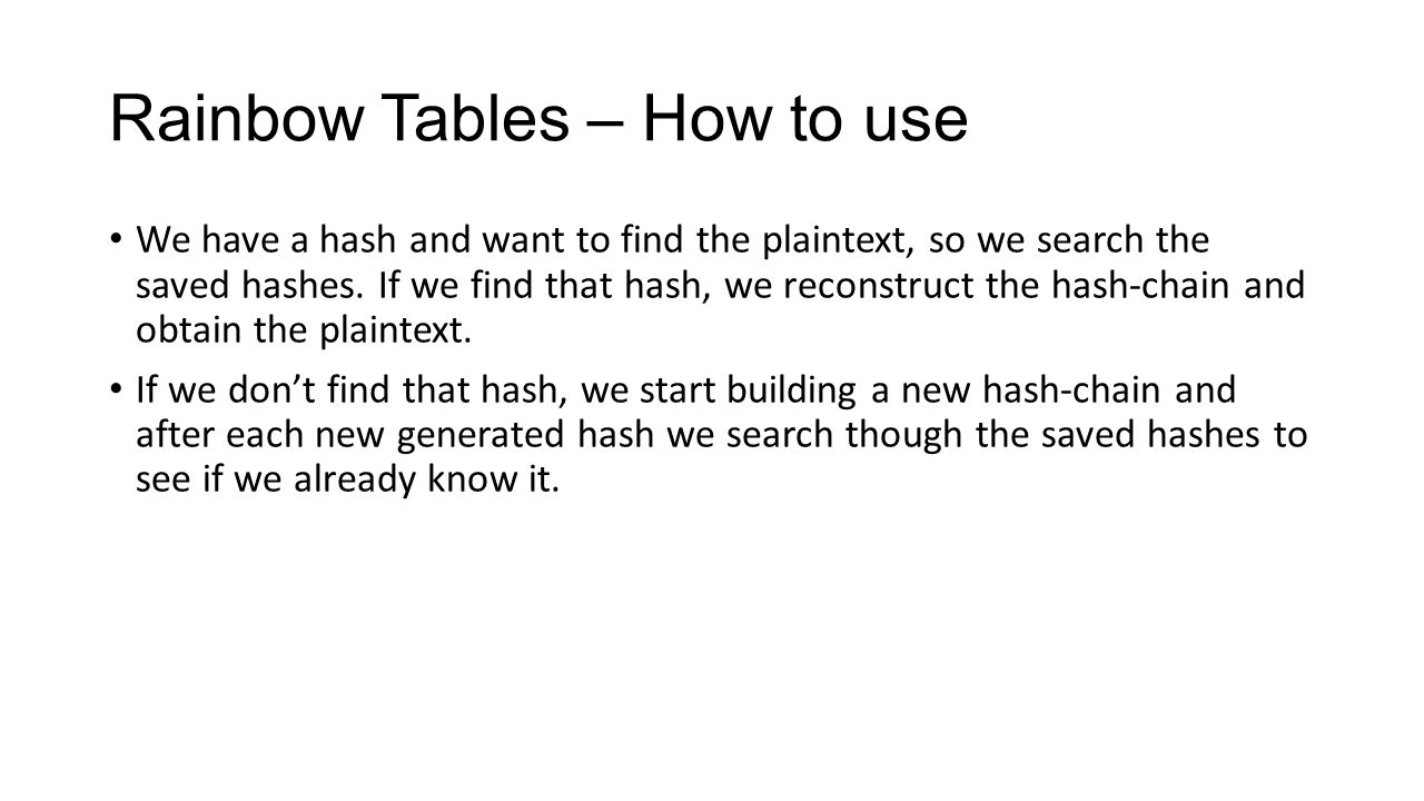Rainbow Tables – How to use