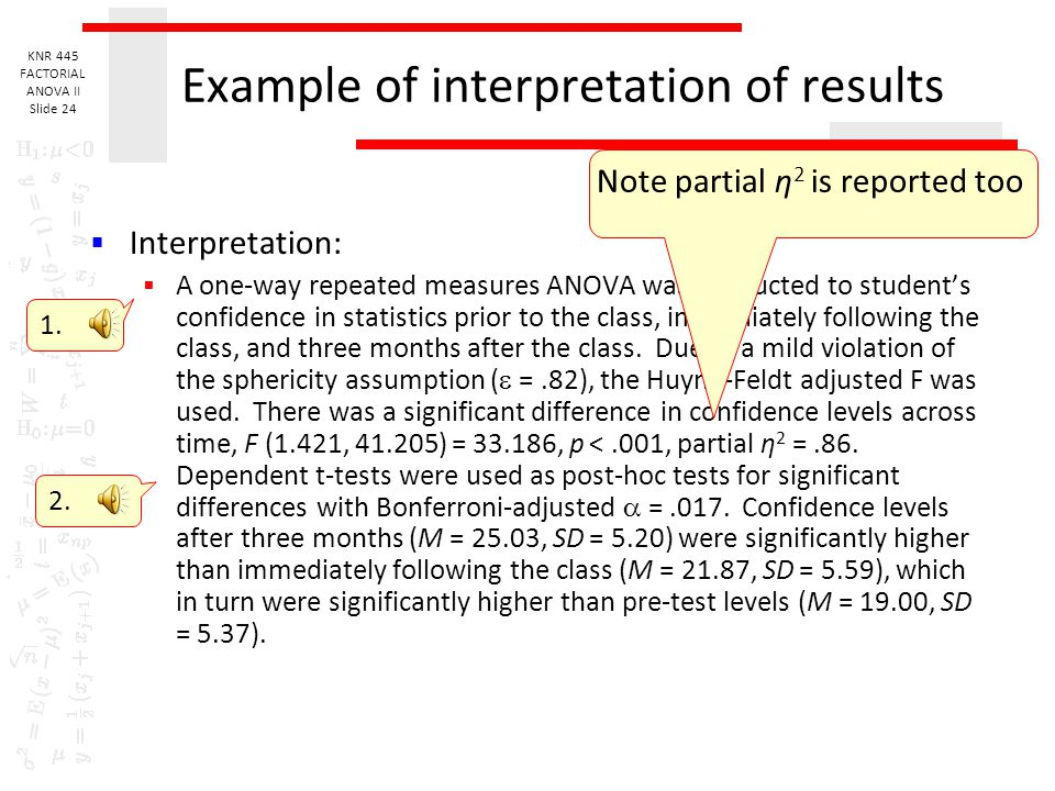 Example of interpretation of results