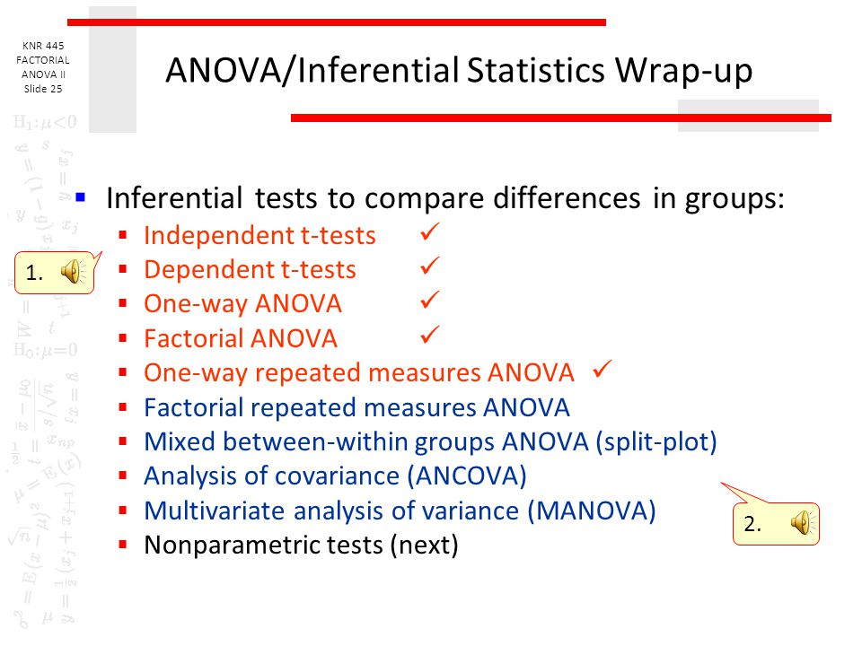 ANOVA/Inferential Statistics Wrap-up