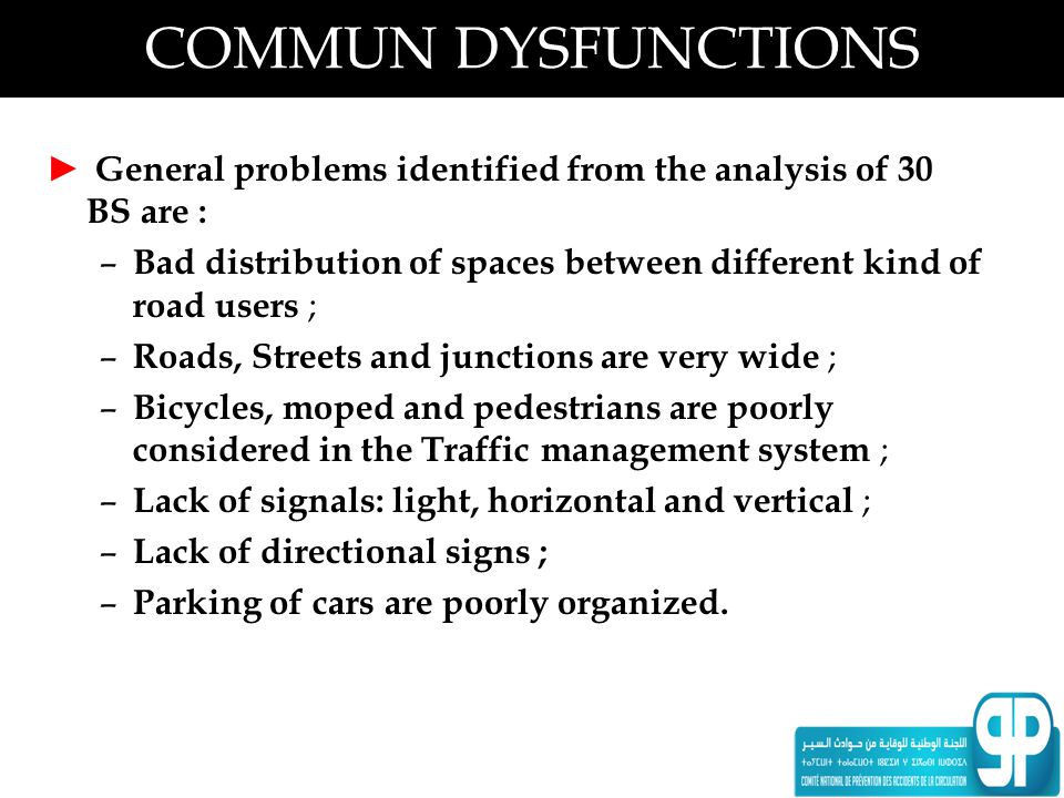 COMMUN DYSFUNCTIONS General problems identified from the analysis of 30 BS are : Bad distribution of spaces between different kind of road users ;