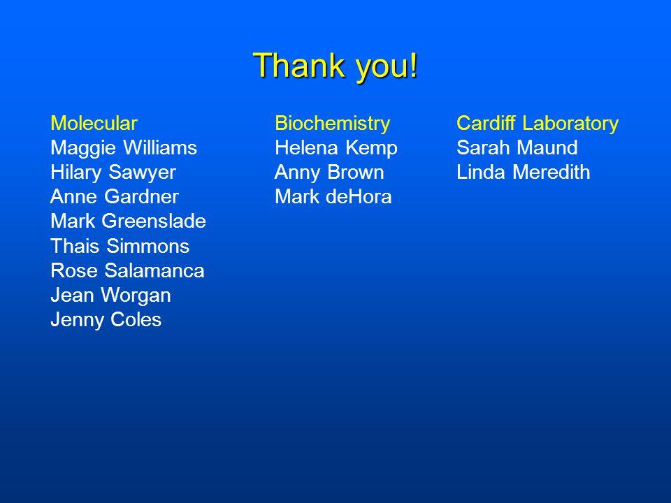 Thank you! Molecular Maggie Williams Hilary Sawyer Anne Gardner