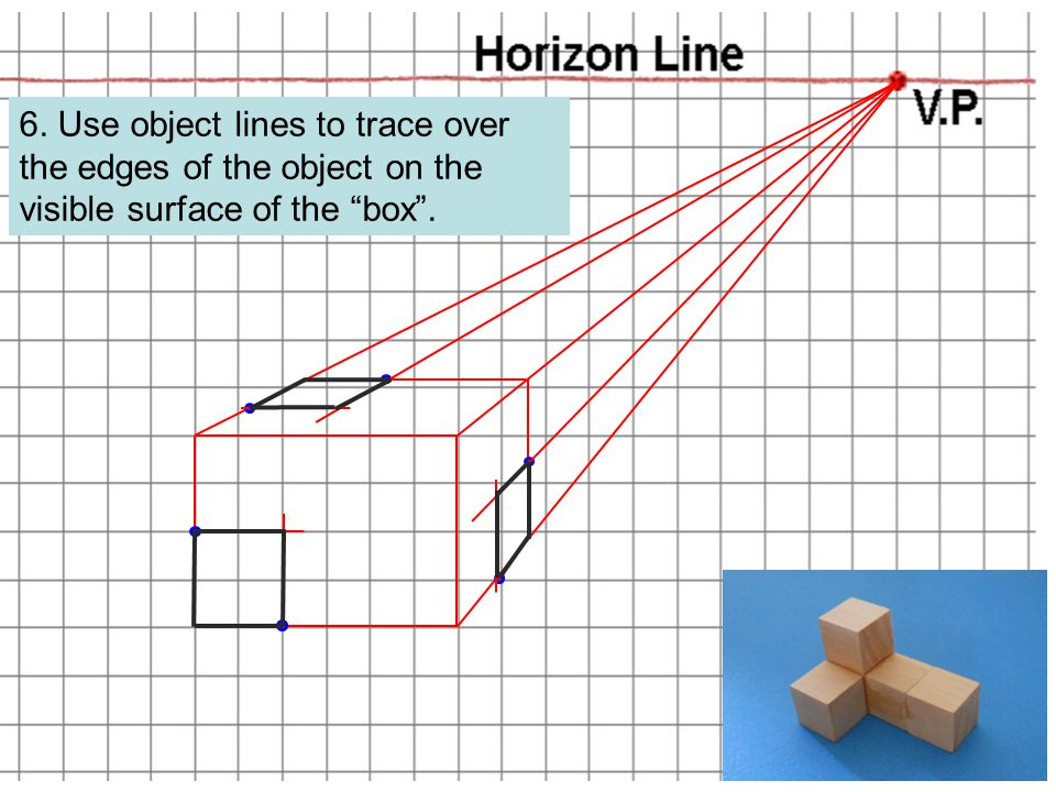 6. Use object lines to trace over the edges of the object on the visible surface of the box .