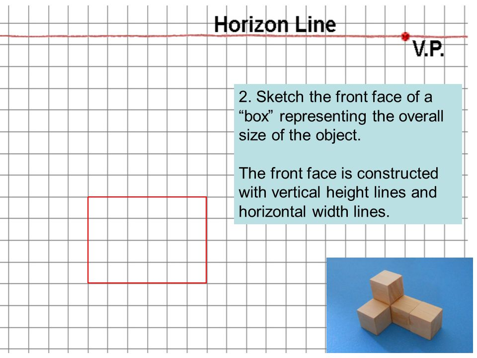 2. Sketch the front face of a box representing the overall size of the object.