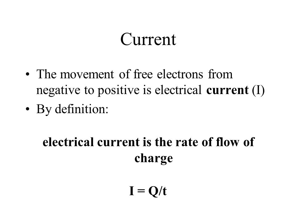 electrical current is the rate of flow of charge