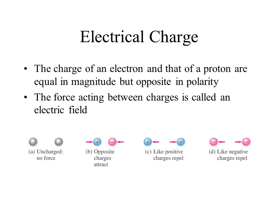 Electrical Charge The charge of an electron and that of a proton are equal in magnitude but opposite in polarity.