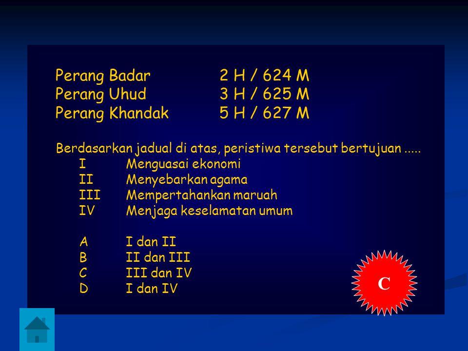 C Perang Badar 2 H / 624 M Perang Uhud 3 H / 625 M