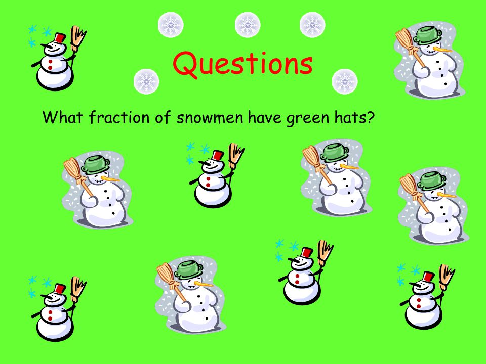 Questions What fraction of snowmen have green hats