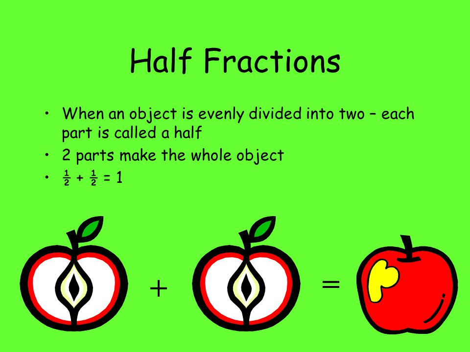 Half Fractions When an object is evenly divided into two – each part is called a half. 2 parts make the whole object.