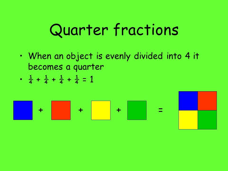 Quarter fractions + + + =