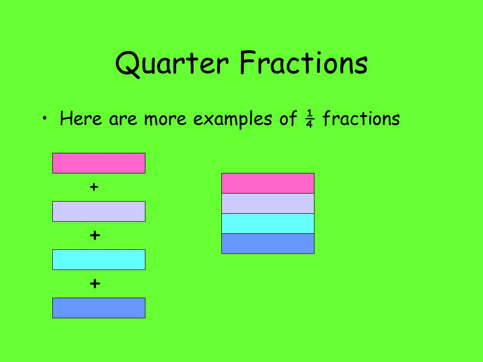 Quarter Fractions Here are more examples of ¼ fractions + + +