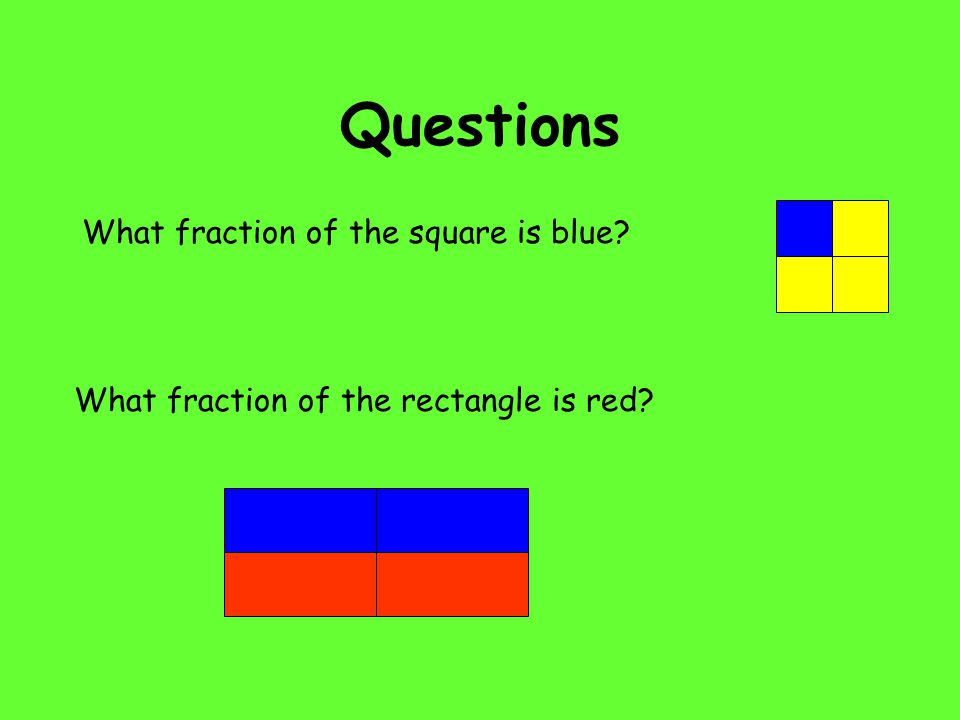 Questions What fraction of the square is blue