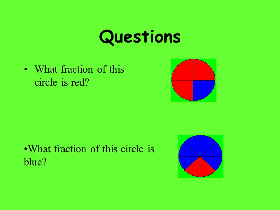 Questions What fraction of this circle is red