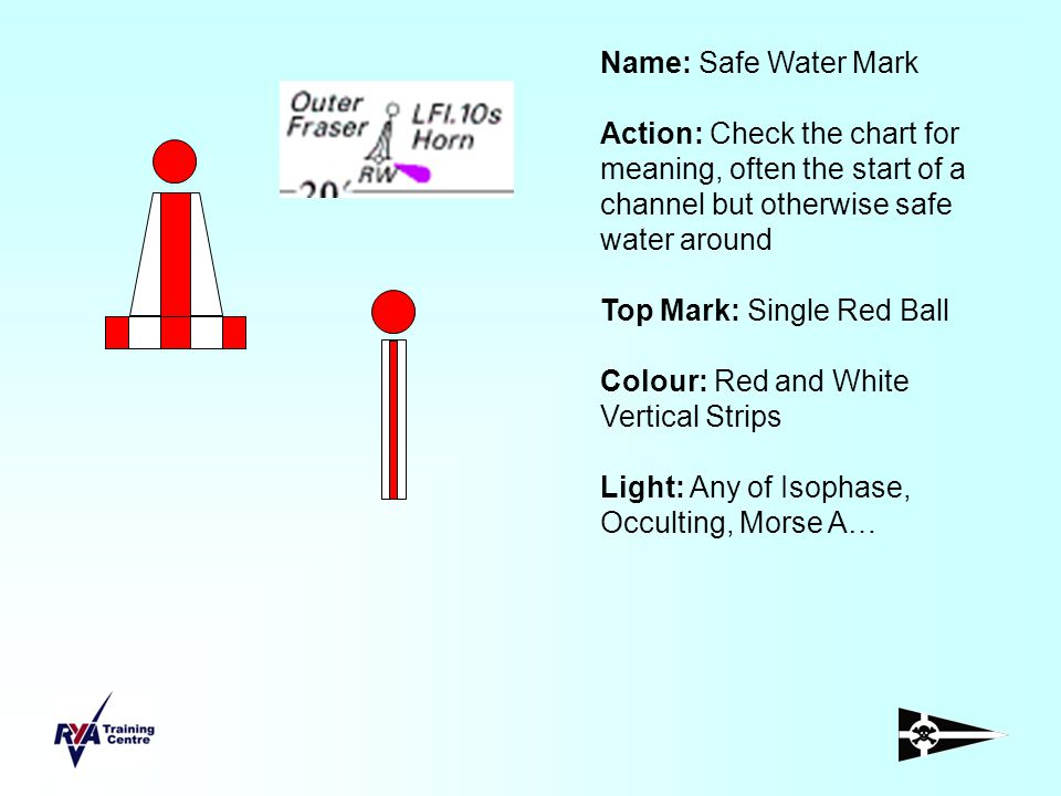 Name: Safe Water Mark Action: Check the chart for meaning, often the start of a channel but otherwise safe water around.