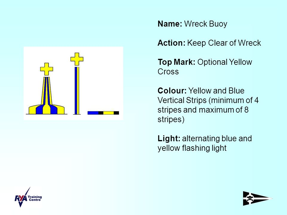 Name: Wreck Buoy Action: Keep Clear of Wreck. Top Mark: Optional Yellow Cross.