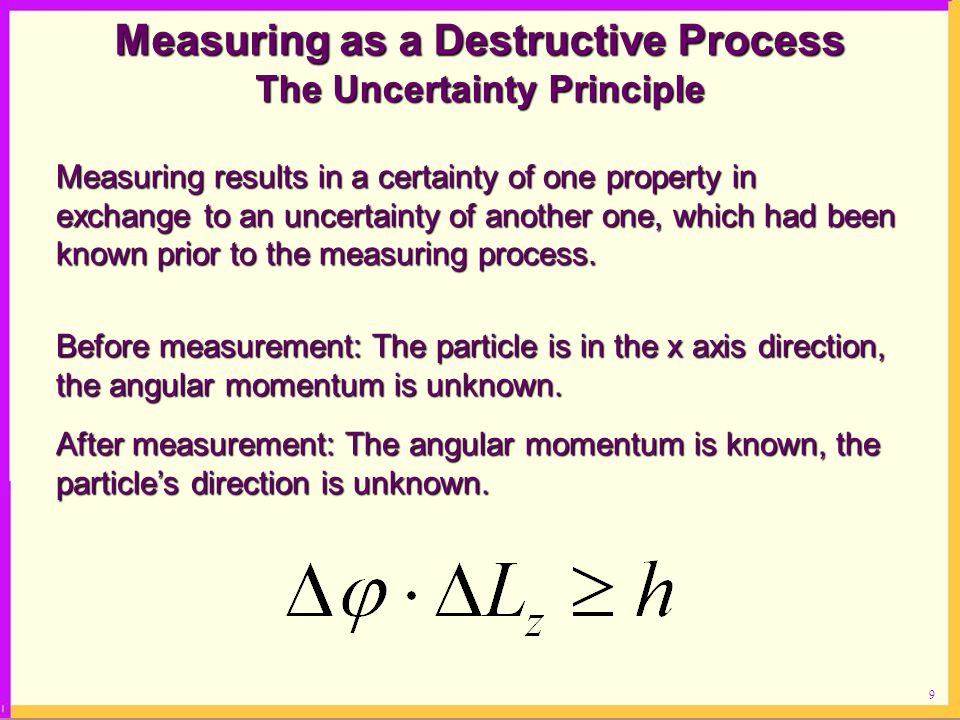 Measuring as a Destructive Process The Uncertainty Principle