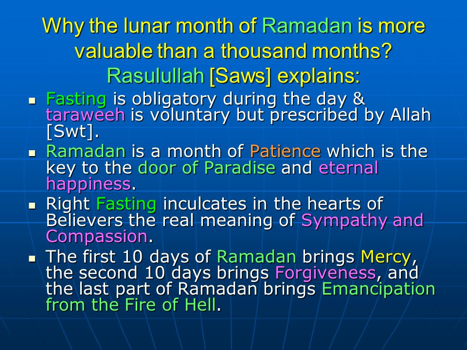 Why the lunar month of Ramadan is more valuable than a thousand months
