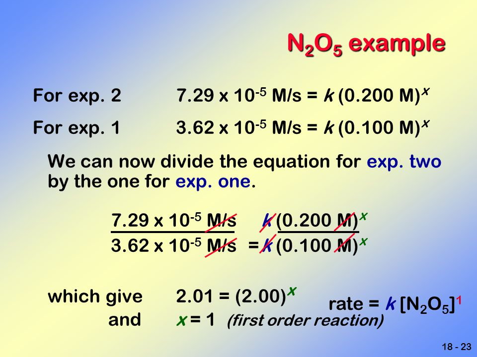N2O5 example For exp. 2 7.29 x 10-5 M/s = k (0.200 M)x