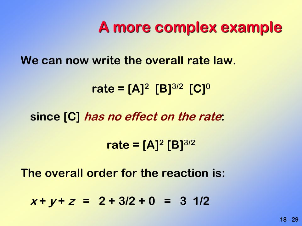 A more complex example We can now write the overall rate law.
