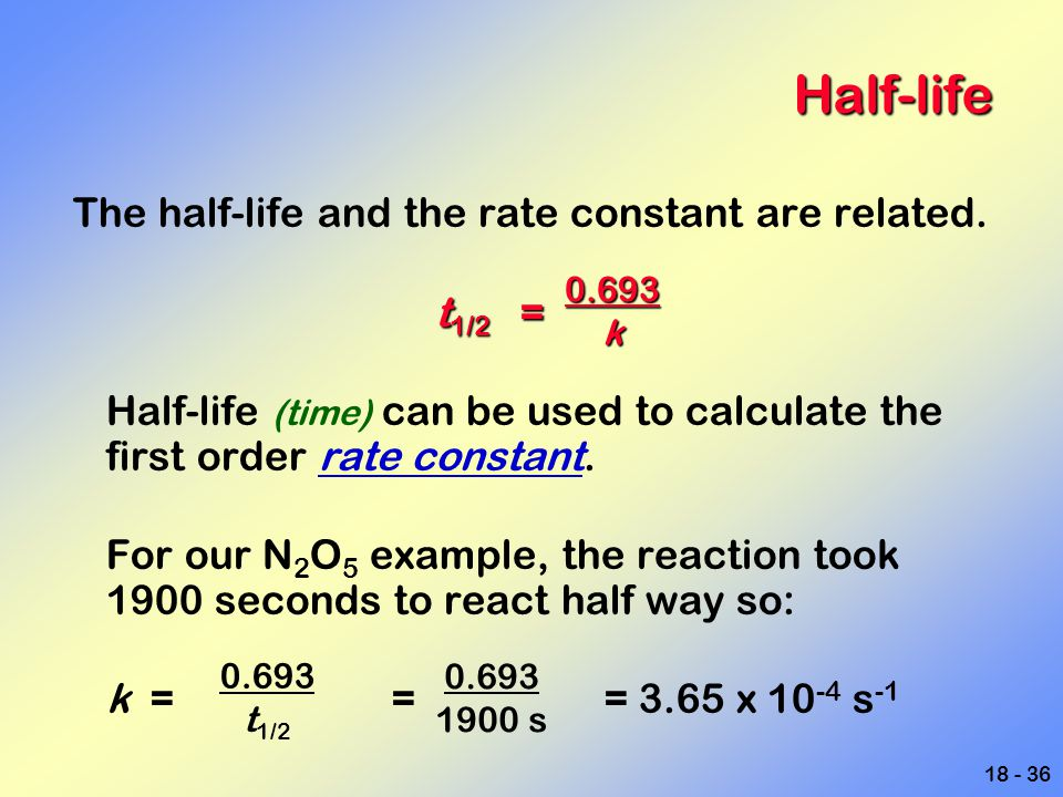 Half-life The half-life and the rate constant are related. t1/2 =
