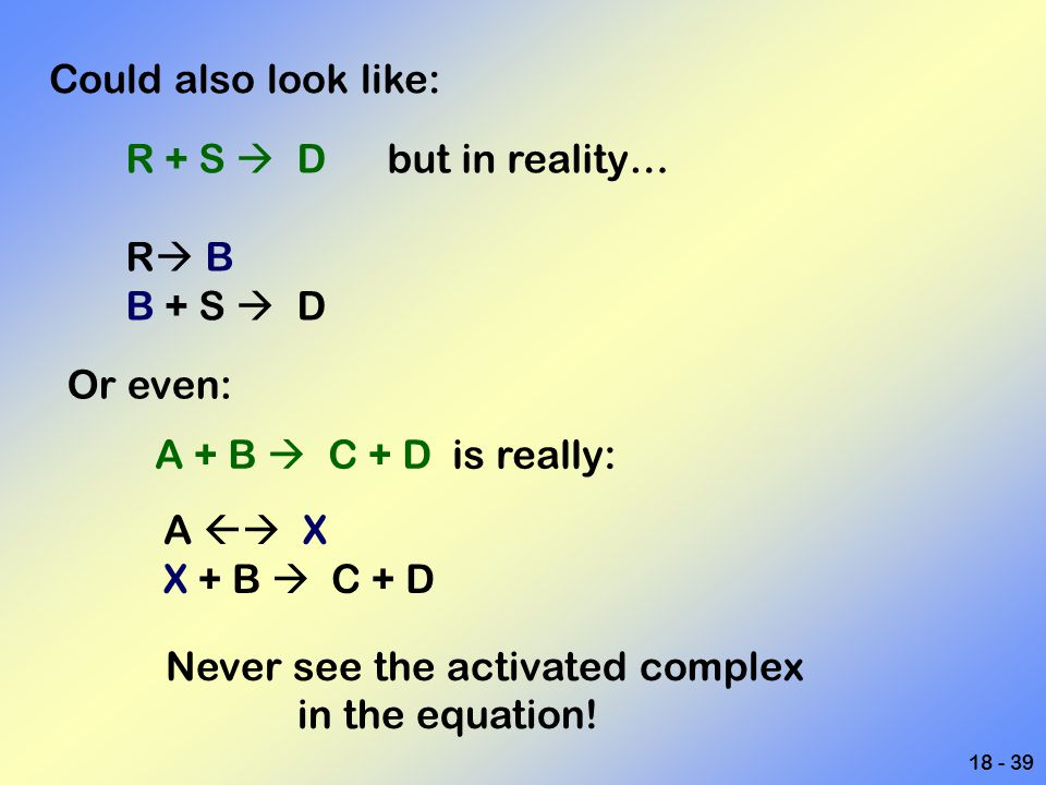 Could also look like: R + S  D but in reality… R B. B + S  D. Or even: A + B  C + D is really: