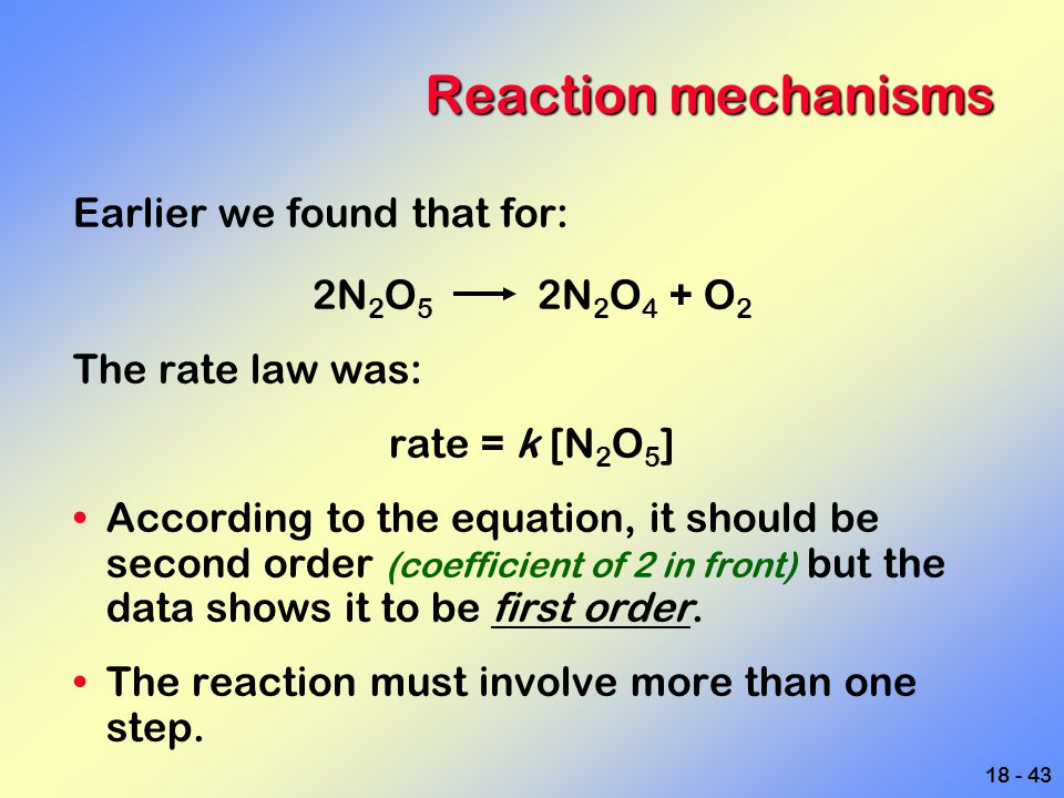 Reaction mechanisms Earlier we found that for: 2N2O5 2N2O4 + O2