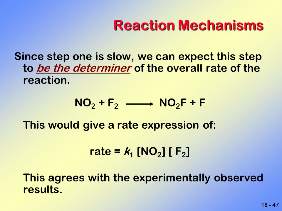 Reaction Mechanisms Since step one is slow, we can expect this step to be the determiner of the overall rate of the reaction.