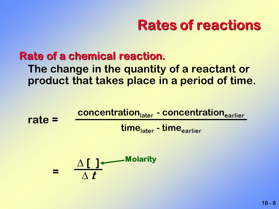 Rates of reactions Rate of a chemical reaction.