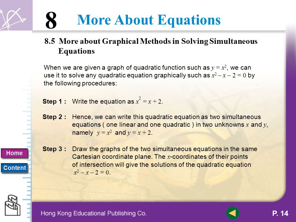 8.5 More about Graphical Methods in Solving Simultaneous Equations
