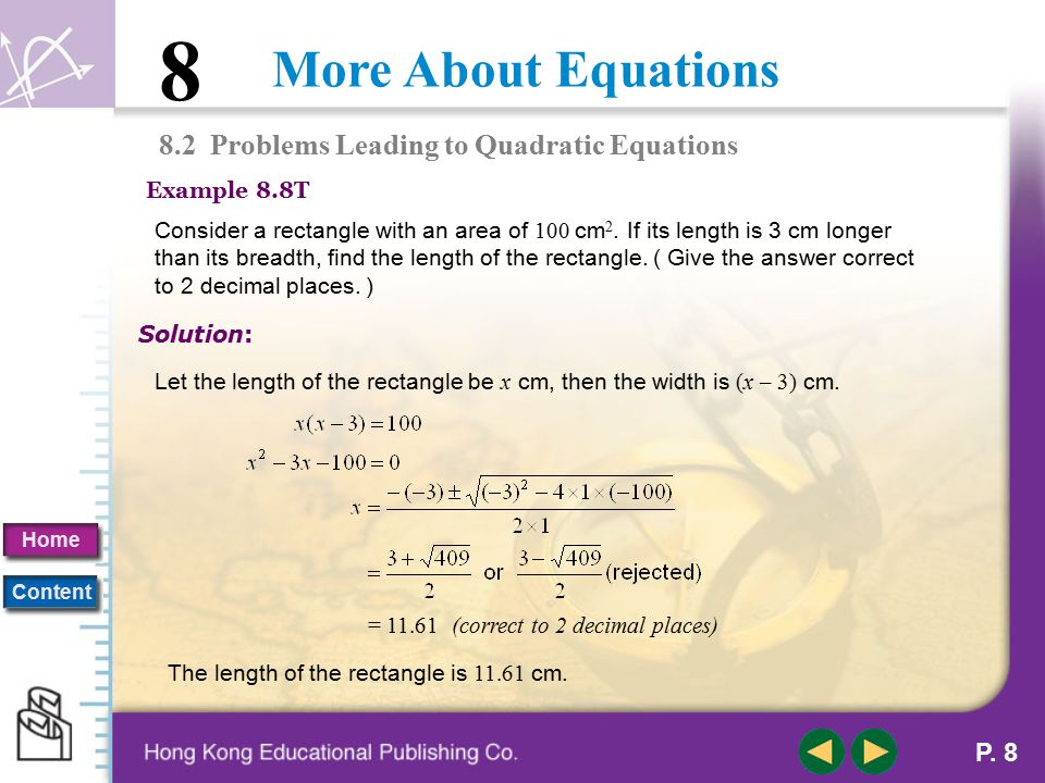 8.2 Problems Leading to Quadratic Equations