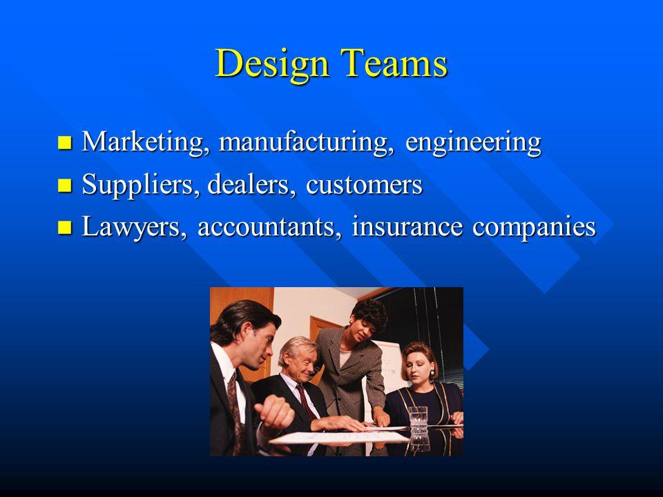Design Teams Marketing, manufacturing, engineering