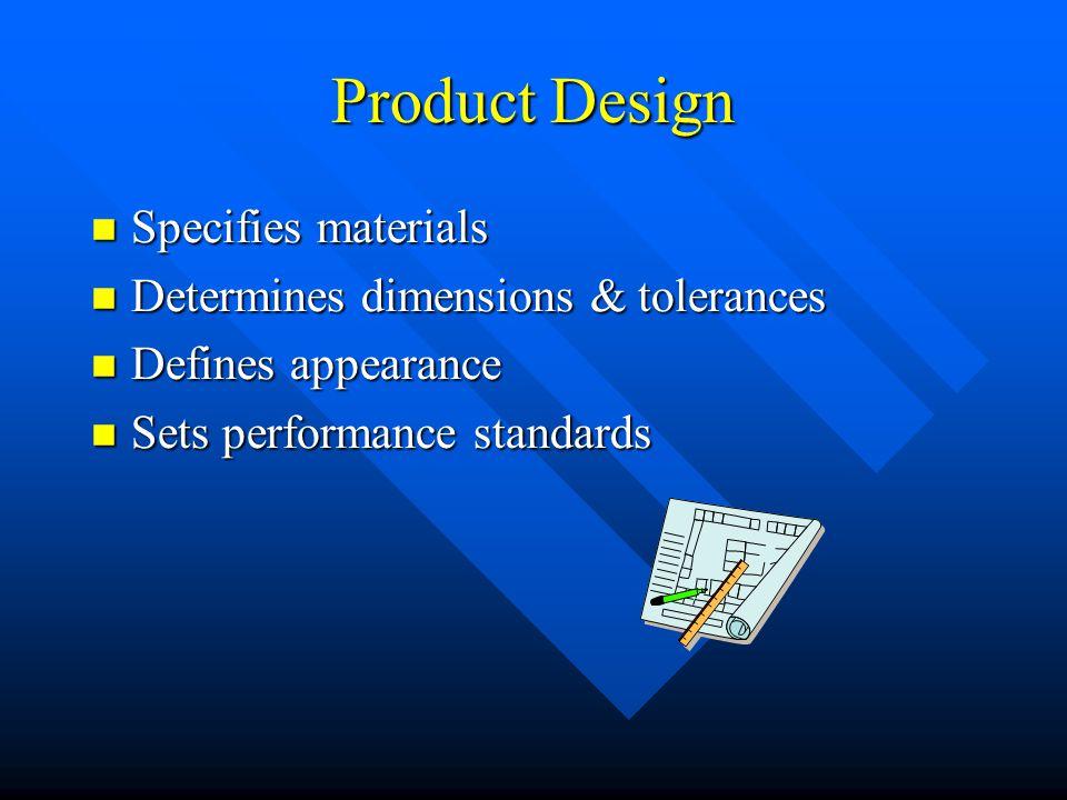 Product Design Specifies materials Determines dimensions & tolerances