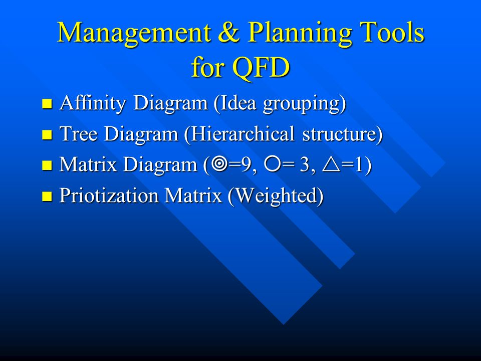 Management & Planning Tools for QFD