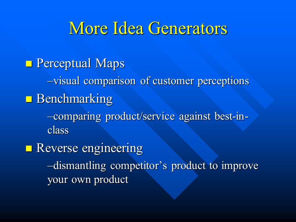 More Idea Generators Perceptual Maps Benchmarking Reverse engineering